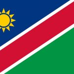 National flag of Namibia with correct proportions, element, colors for education books and official documentation