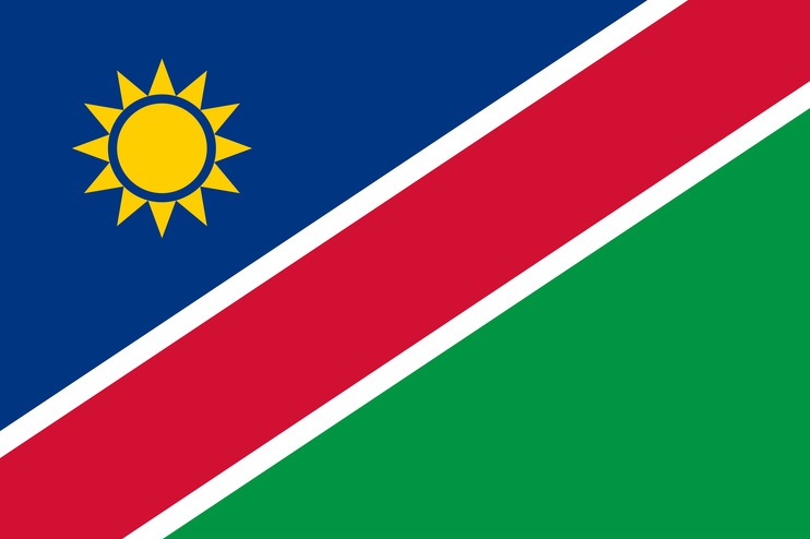 National flag of Namibia with correct proportions, element, colors