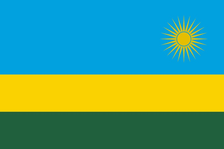 National flag of Rwanda with correct proportions, element, colors